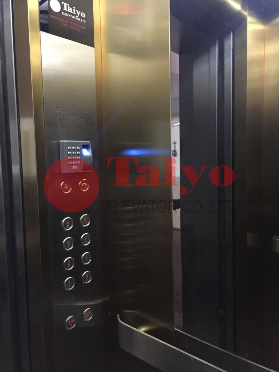 Bảng gọi tầng thang máy taiyo có vân tay và thẻ từ
